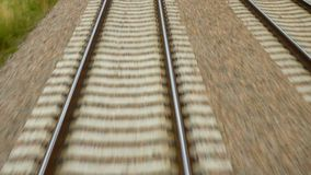 View at the rails of running away train. View at the rails of the running away train stock footage