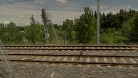View of rails from train. stock footage