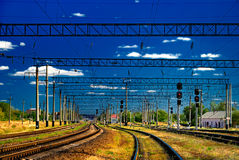 View on the railway. And the dark blue sky Stock Photos