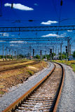 View on the railway. With traffic lights and moving Royalty Free Stock Images