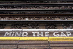 A view of the railway. Mind the gap. Royalty Free Stock Photography