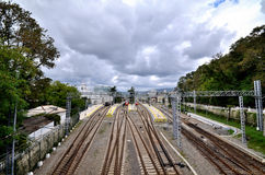 View of the railway station of the city of Sochi Stock Photos