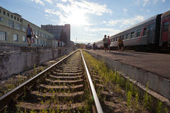View of the railway station in Russia Stock Photo