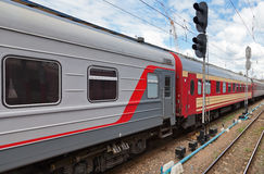 Passenger train in Russia Stock Image