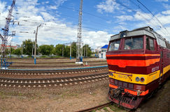 View of the railway track and  passenger train Royalty Free Stock Photo