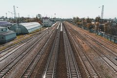 View of the railway track on a sunny day. Stock Photos