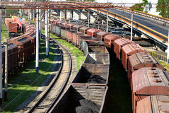 View on the railway transport centre. In port Royalty Free Stock Images