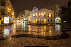 View in rain on the Historic Centre of Macao - Senado Square Stock Image