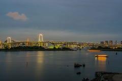 View rainbow bridge odaiba tokyo japan at night Stock Image