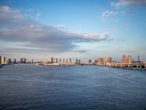 View From Rainbow Bridge, Tokyo, Japan, North Route. The Rainbow Bridge レインボーブリッジ Reinbō Burijji is a stock image