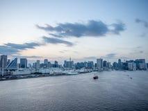 View From Rainbow Bridge, Tokyo, Japan, North Route. The Rainbow Bridge レインボーブリッジ Reinbō Burijji is a royalty free stock photo