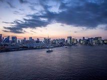 View From Rainbow Bridge, Tokyo, Japan, North Route. The Rainbow Bridge レインボーブリッジ Reinbō Burijji is a stock images