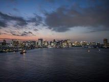 View From Rainbow Bridge, Tokyo, Japan, North Route. The Rainbow Bridge レインボーブリッジ Reinbō Burijji is a royalty free stock images