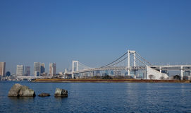 View of the Rainbow bridge in Toyko, Japan Royalty Free Stock Images