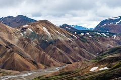 View of Rainbow Mountains Landmannalaugar. Detail photo of Rainbow Mountains Landmannalaugar on Iceland with a river running through the valley Royalty Free Stock Image