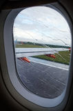 View of rainy airplane window during takeoff Stock Photography