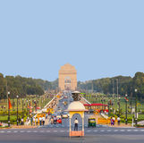 View on Rajpath boulevard to India Stock Photo