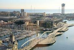 View of Rambla de Mar bridge in Barcelona, Spain Stock Image