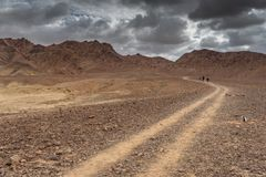 Trekking in Negev dramatic stone desert, Israel. View of ramon crater desert of southern israel during hiking Stock Photography