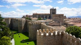 View of the ramparts of Avila, Spain stock photography