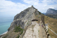 View of the ramparts of the Consular castle. Genoese fortress in Sudak Royalty Free Stock Image