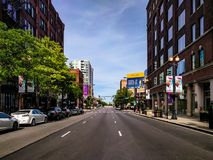Randolph Street in Fulton Market neighborhood. Chicago, USA royalty free stock photos