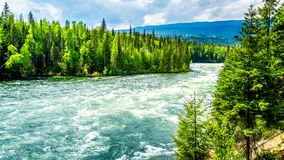 Bailey`s Chute, a narrow section in the Clearwater River, in Wells Gray Provincial Park. View of the rapids in Bailey`s Chute, a narrow section in the swollen Stock Images