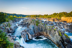 View of rapids in the Potomac River at sunset, at Great Falls Pa Royalty Free Stock Photos