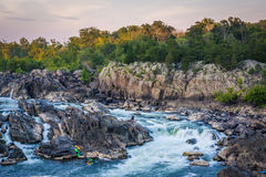 View of rapids in the Potomac River at sunset, at Great Falls Pa Stock Photo