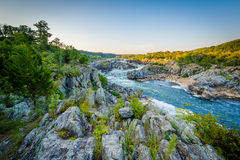 View of rapids in the Potomac River at sunset, at Great Falls Pa Royalty Free Stock Images
