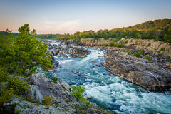 View of rapids in the Potomac River at sunset, at Great Falls Pa Stock Image