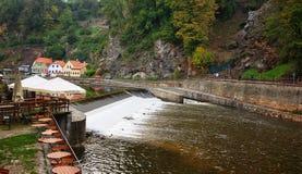 View on rapids in Vltava river in Cesky Krumlov Stock Image