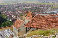 View of Rasnov from fortress. Transylvania, Brasov Stock Photo