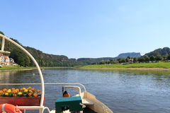 View from Rathen Ferry across the Elbe River in Saxon Switzerland Stock Photography