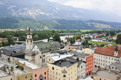 View from Rattenberg Castle downtown, Austria Stock Photography