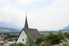 View from Rattenberg Castle at Inn valey, Austria. Rattenberg is an Austrian town on the Inn River, near Rattenberg mountain and Innsbruck. From the castle at Royalty Free Stock Image