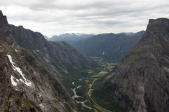View from of the Rauma river Trollveggen (Trollwall) Royalty Free Stock Photos