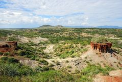 Olduvai Gorge, Tanzania. View of ravine Olduvai Gorge one of the most important paleoanthropological sites in the world - the Cradle of Mankind. Great Rift stock photos