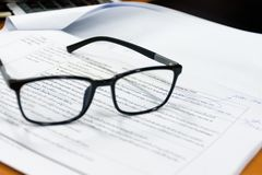 View through reading glasses. stock images