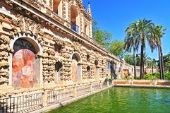 View of Real Alcazar Galeria de Grutesco the Royal Palace Sevilla Spain. stock photos
