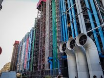 Rear of Centre Pompidou, Paris. View on the rear of Centre Pompidou in Paris, France, with its pipes, ducts and industrial looks Stock Photos