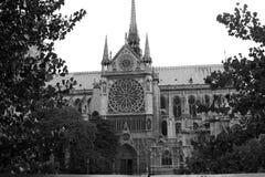 View of the rear part of the building of Notre Dame de Paris. Stock Image
