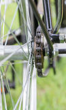 View of rear wheel with chain & sprocket Royalty Free Stock Photo