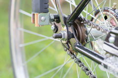 View of rear wheel with chain & sprocket Stock Photography