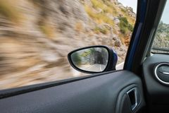 View of the rearview mirror of the car royalty free stock image