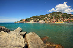View on Recco - popular touristic resort. Recco - popular touristic resort on Mediterranean Sea in Italy Royalty Free Stock Photos