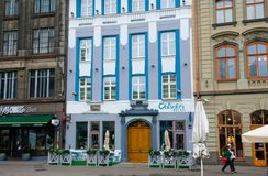 View of the recently opened Le Chevalier Reliais Hotel. Riga, Latvia. August 25, 2017. View of the recently opened Le Chevalier Reliais Hotel Stock Image