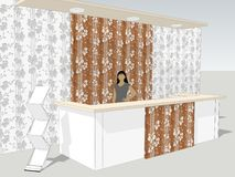 View of reception desk is standing in an office lobby with a interior wall pattern Stock Image