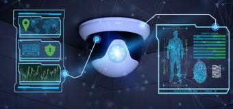 Recognition and detection software on a security camera system -. View of a Recognition and detection software on a security camera system - 3d rendering Stock Images