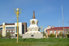 View of the Reconciliation mortar. O.I. Gorodovikov Square. Elista, Kalmykia.  stock image
